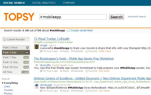 Topsy.com Screenshot