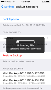 Upload your Klisto LE backup to Dropbox