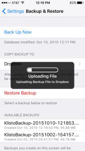 Upload your Klisto LE backup to Dropbox